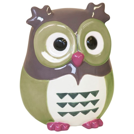 Kids Concept Money Box Owl Green Grön/Brun
