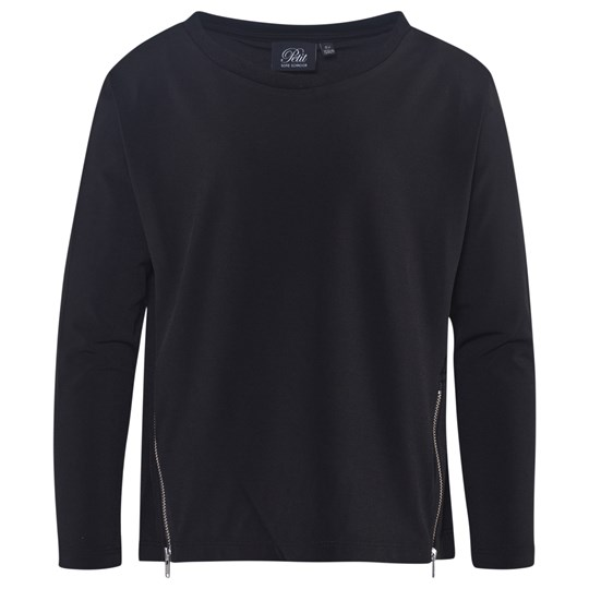 Petit by Sofie Schnoor Long Sleeved T-Shirt With Zipper Black Musta