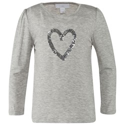 The Little White Company Grey Marl Ls Tee W Sequin Heart