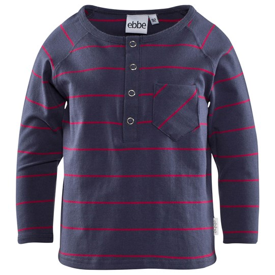 ebbe Kids Benedict Grandpa L/S Washed Navy/Raspberry Stripe Washed Navy/Raspberry stripe