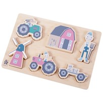 sebra Farm Boy Wooden Chunky Puzzle  Blue