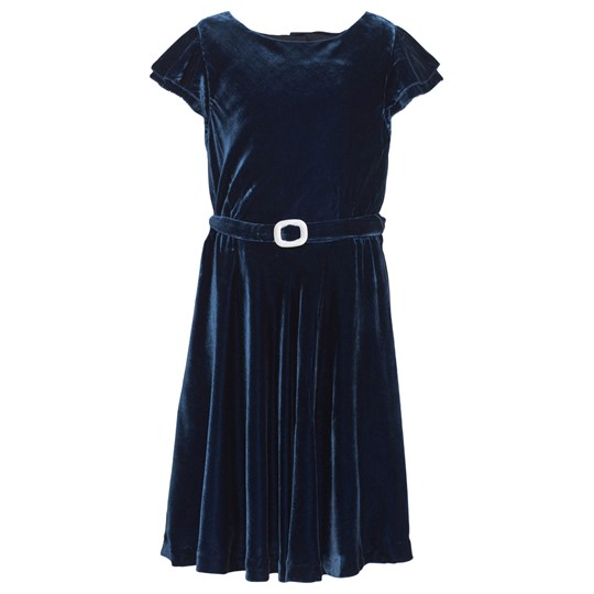 Ralph Lauren Silk-Blend Velvet Dress Jewel Blue Jewel Blue