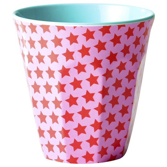 Rice Melamine Cup Two Tone Star Print Rosa