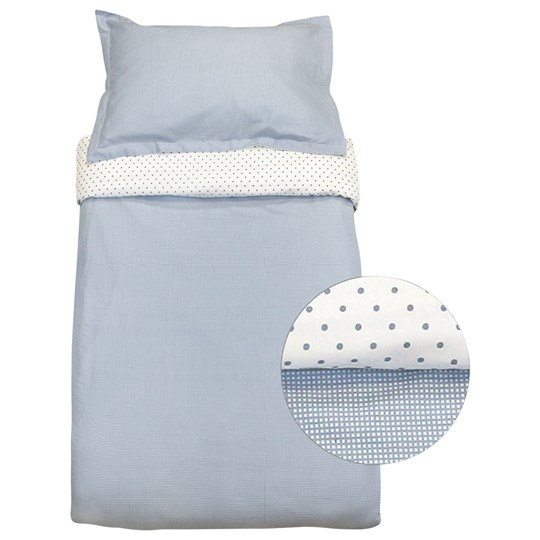 Vinter & Bloom Gingham Crib Bed Set Placid Blue Blue