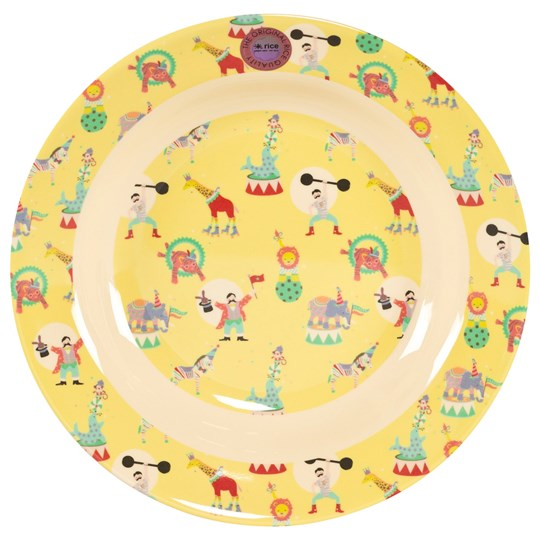 Rice Melamine Bowl With Circus Print Yellow Yellow