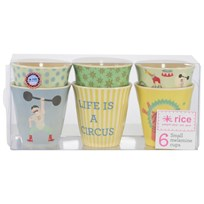 RICE A/S Box W 6 Small Melamine Cups Circus Prints Yellow Yellow