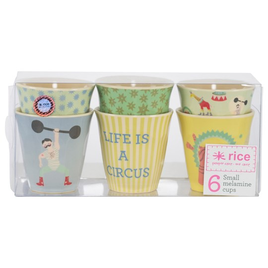 Rice Set of 6 Circus Print Cups Yellow