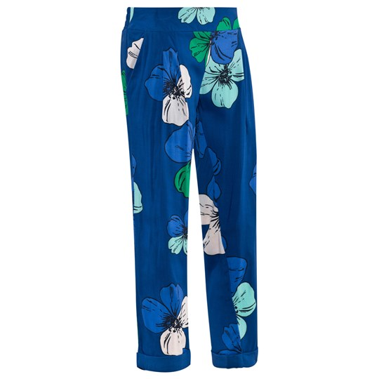 Chloé Blue Viscose Trousers With Flowers Imprime