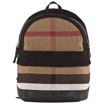 Burberry Canvas Check and Leather Backpack Black Black