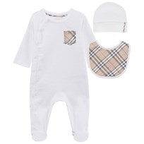 Burberry Check Cotton Three-Piece Baby Gift Set White