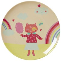 RICE A/S Kids Melamine Lunch Plate with Girls Happy Camper Print Rosa