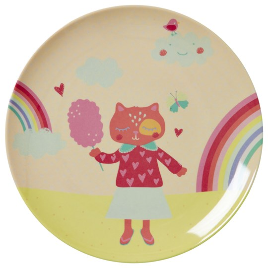 Rice Happy Camper Melamine Plate Rosa