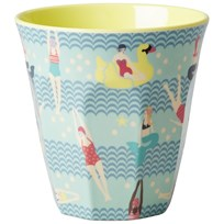 RICE A/S Melamine Cup Two Tone with Swimster Print Multi