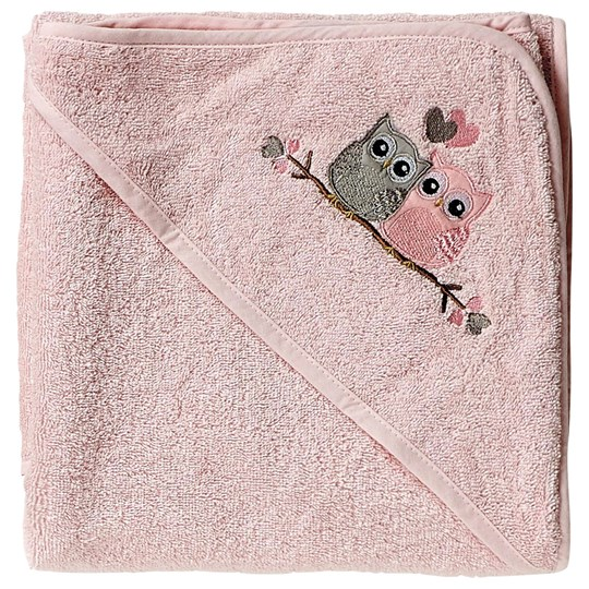 Baby Dan Love Birds Hooded Bath Towel Pink Baby Pink