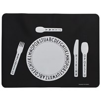 Design Letters AJ placemat Black with white print
