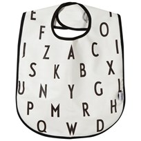 Design Letters AJ Bib White with black letterprint