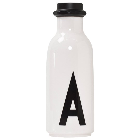 Design Letters Personal Water bottle A White with black letterprint