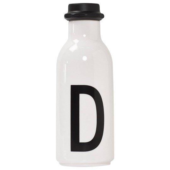 Design Letters Personal Water bottle D White with black letterprint