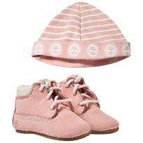 Timberland Crib Bootie With Hat Light Pink Pink