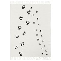 Kids Concept Neo Black & White Cotton Paw Print Rug  Svart/Vit