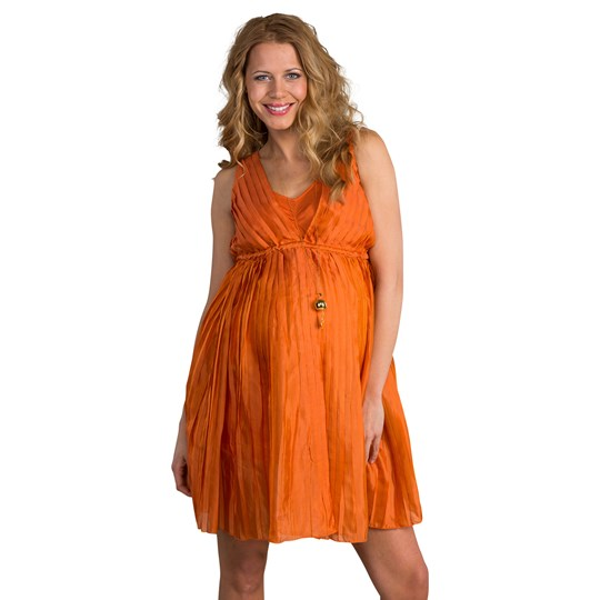 Mom2Mom Pleated Dress in Orange Orange