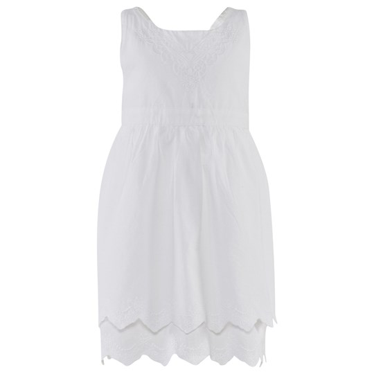 Esprit Cotton Embroidered Dress White White
