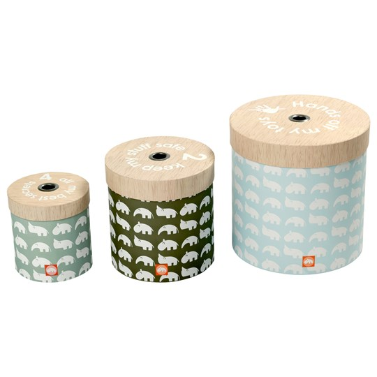 Done by Deer Round Box Set 3 pcs Blue Blue