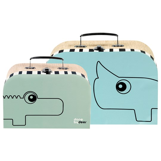 Done by Deer Suitcase Set 2 pcs Blue/Green Green