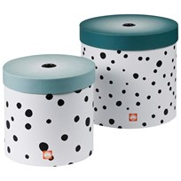 Done by Deer Happy Dots Round Box Set 2 Pieces Blue Blue