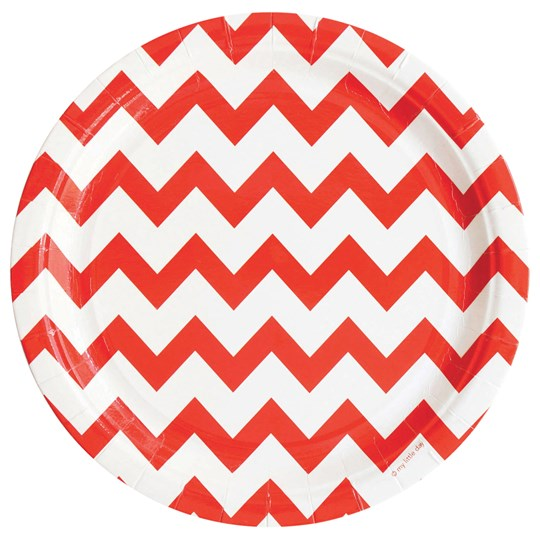 My Little Day 8 Paper Plates - Red Chevrons red chevrons