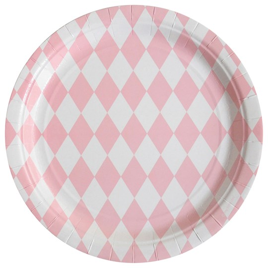 My Little Day 8 Paper Plates - Light Pink Diamonds light pink diamonds