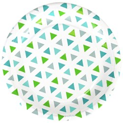 My Little Day 8 Paper Plates - Green Triangles