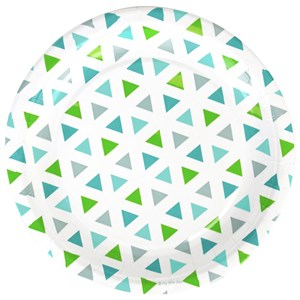 Image of My Little Day 8 Paper Plates - Green Triangles (2743696371)