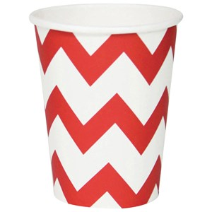 Image of My Little Day 8 Paper Cups - Red Chevrons (2743696361)