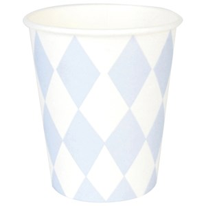 Image of My Little Day 8 Paper Cups - Light Blue Diamonds (2743696355)