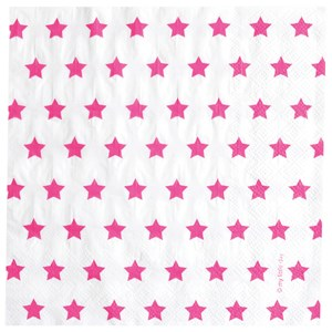 Image of My Little Day 20 Paper Napkins - Bright Pink Stars (2743697811)