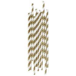 My Little Day 25 Paper Straws - Golden Stripes