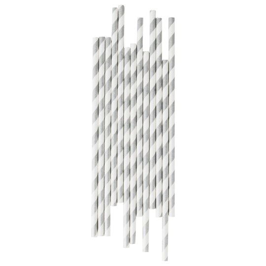 My Little Day 25 Paper Straws - Silver Stripes silver stripes
