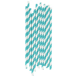 Image of My Little Day 25 Paper Straws - Turquoise Stripes (3125335321)