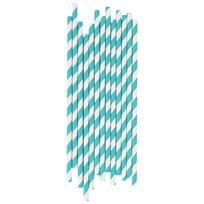 My Little Day 25 Paper Straws - Turquoise Stripes turquoise stripes