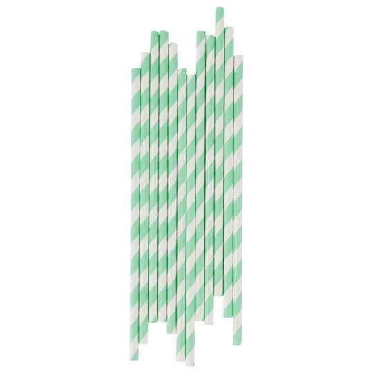 My Little Day 25 Paper Straws - Aqua Stripes aqua stripes
