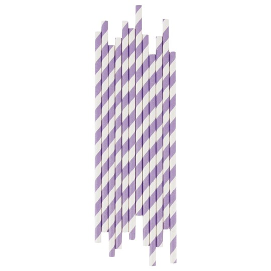 My Little Day 25 Paper Straws - Lilac Stripes lilac stripes