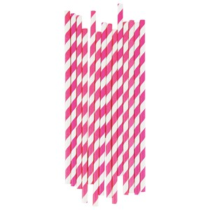 Image of My Little Day 25 Paper Straws - Bright Pink Stripes (2743698093)