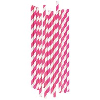 My Little Day 25 Paper Straws - Bright Pink Stripes bright pink stripes