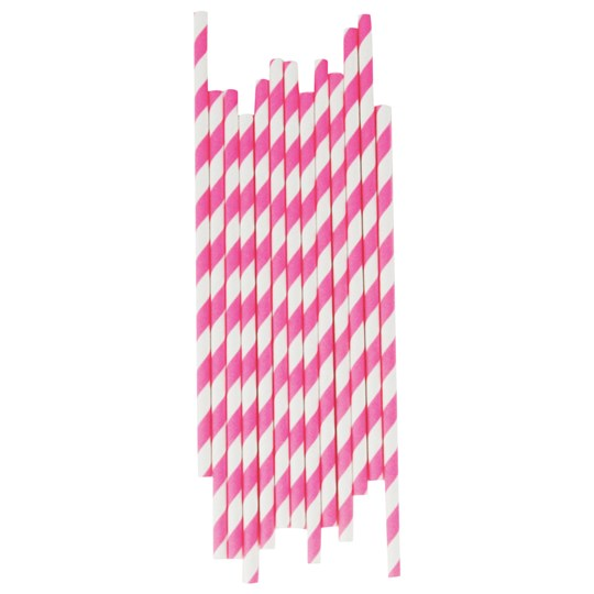 My Little Day 25 Paper Straws - Candy Pink Stripes candy pink stripes