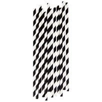 My Little Day 25 Paper Straws - Black Stripes black stripes