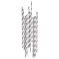 My Little Day 25 Paper Straws - Grey Stripes grey stripes