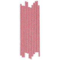 My Little Day 25 Paper Straws - Red Chevrons red chevrons