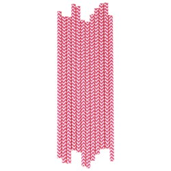 My Little Day 25 Paper Straws - Bright Pink Chevrons