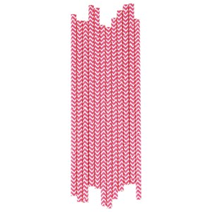 Image of My Little Day 25 Paper Straws - Bright Pink Chevrons (2743698089)